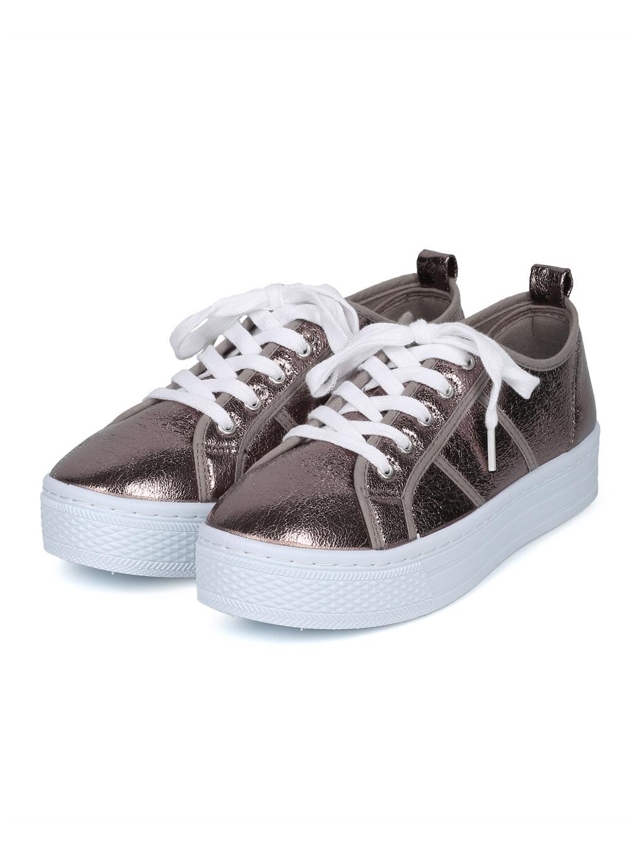 03f921d2c57f Qupid - New Women Qupid Maniac-17 Distressed Metallic Lace Up Flatform  Creeper Sneaker - Walmart.com