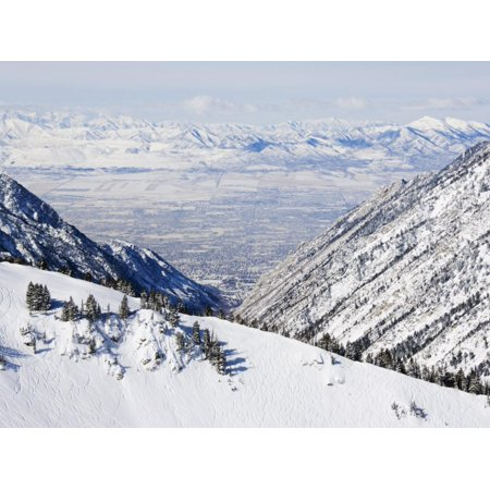 Salt Lake Valley and Fresh Powder Tracks at Alta, Alta Ski Resort, Salt Lake City, Utah, USA Print Wall Art By Kober