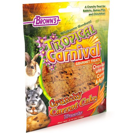 F.M. Brown'S Tropical Carnival Crunchy Carrot Cake Foraging Treat For Rabbits, Guinea Pigs, Chinchillas, Hamsters, Gerbils, Mice And Rats, Cage Clip Included, 2.75Oz