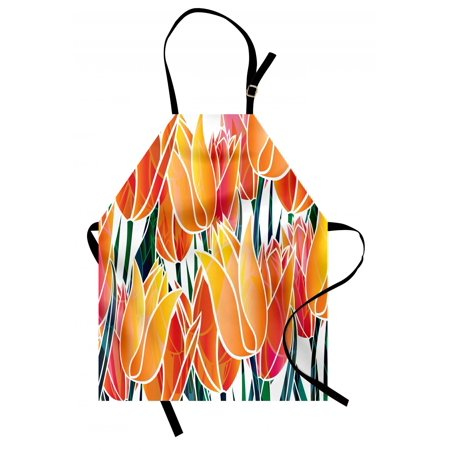 Tulip Apron Exquisite Flourishing Tulip Garden with Vivid Colored Endless Petals Eco Illustration, Unisex Kitchen Bib Apron with Adjustable Neck for Cooking Baking Gardening, Orange, by Ambesonne