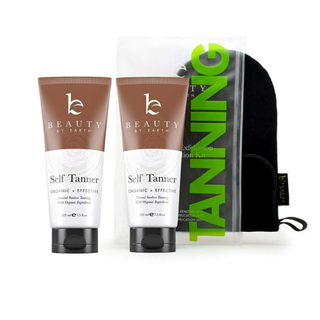 Self Tanner & Tanning Mitt Bundle - Best Self Tanning Lotion, Self Tanning Mitt, Exfoliating Gloves Exfoliator and Face Applicator for Streak Free Application of Sunless Tanning Lotion or Spray (Best Tanning Lotion For Beginners)