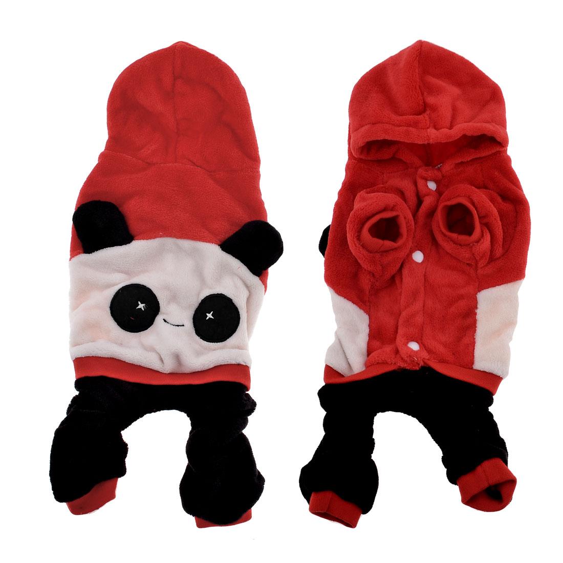 Warm Plush Panda Shape Chihuahua Pet Dog Cat Apparel Clothes Jumpsuit Red XS