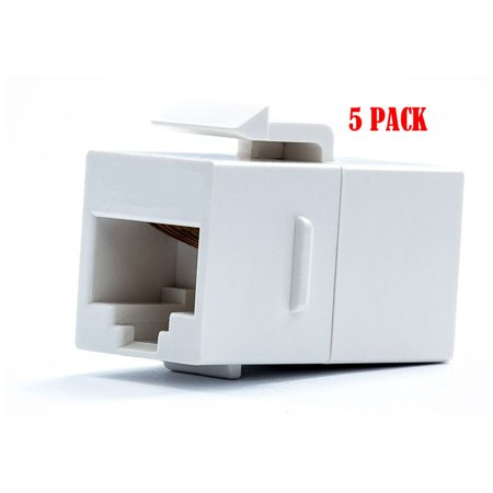 White RJ45 Female to Female UTP CAT5e CAT6 Keystone Jack Inline Coupler (5/pack) (Cat5e Keystone Jack)