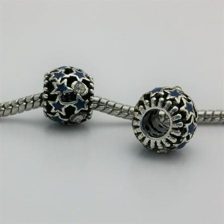 3 Beads- Blue Stars Enamel Rhinestone Silver European Bead Charm E1540