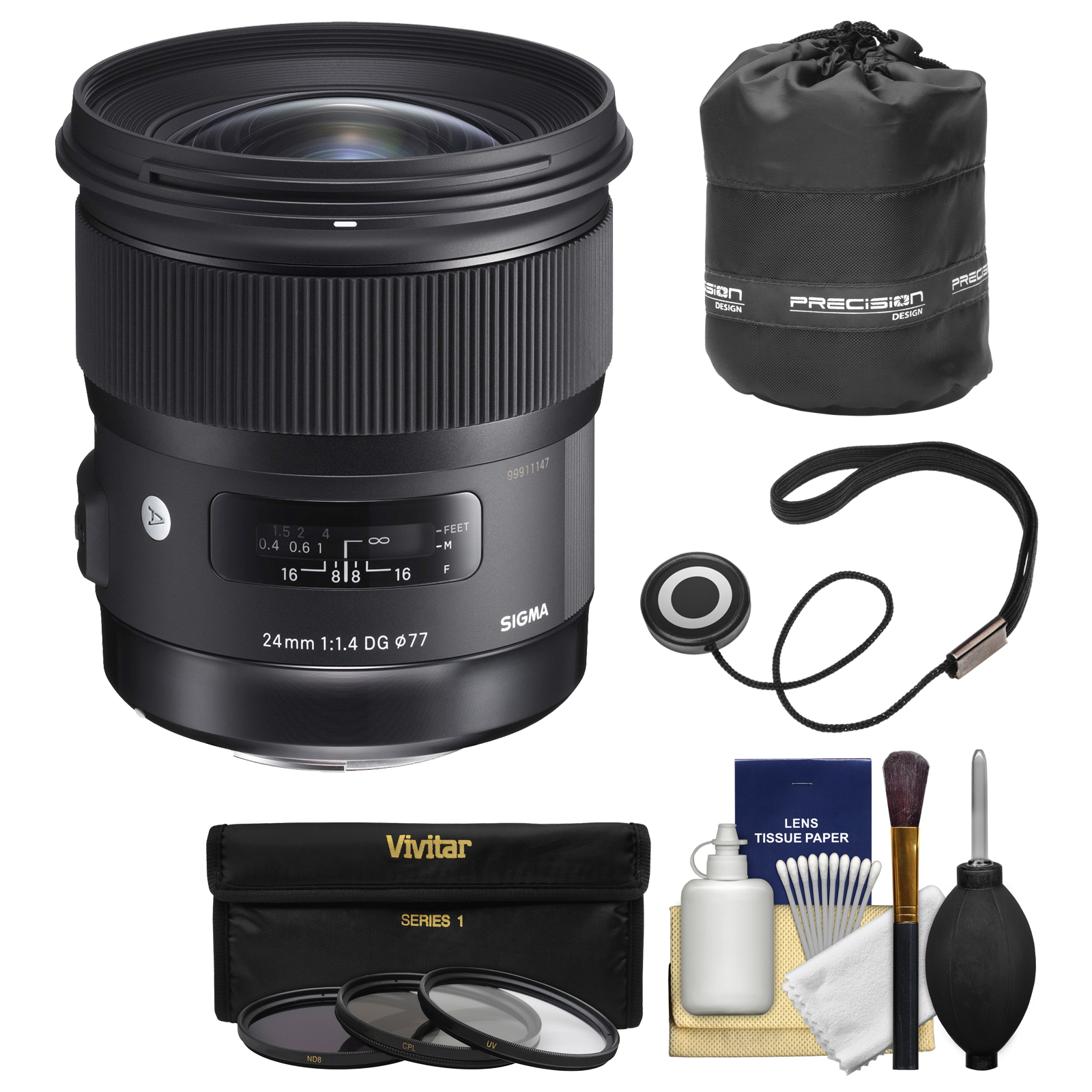 Sigma 24mm f/1.4 Art DG HSM Lens for Canon EOS DSLR Cameras with Pouch + 3 UV/CPL/ND8 Filters + Kit
