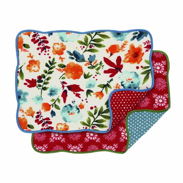 """Pioneer Woman Celia Design Dish Drying Mat Reversible 18/""""x 24/"""""""
