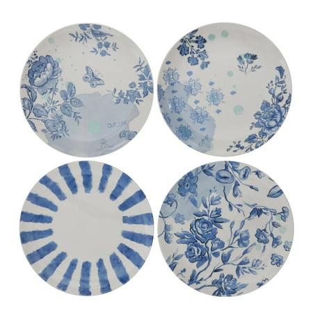 3R Studios White & Blue Stoneware Plates - Set of 4 ()