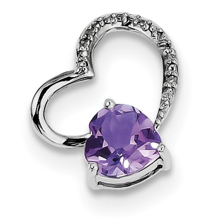 Sterling Silver Rhodium Plated Diamond Amethyst Heart Pendant QP3180AM (mm x mm) - image 2 of 2
