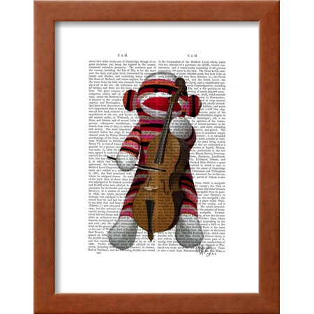 Sock Monkey and Cello Framed Print Wall Art By Fab Funky - Walmart.com