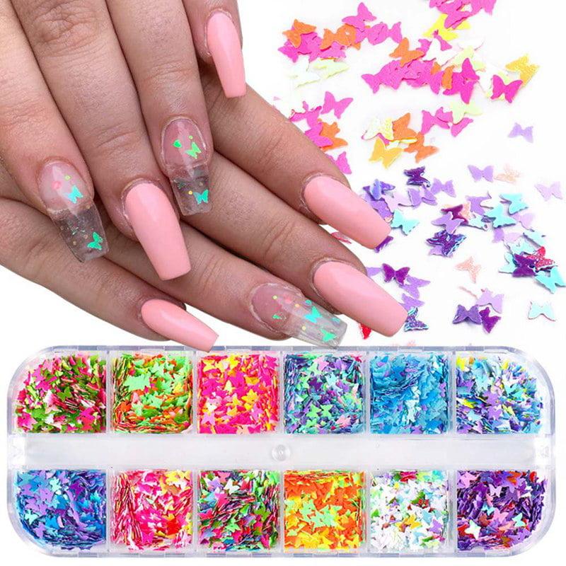 12 colors-laser Colorful butterfly shape confetti set-uv resinjewerly makingnail art