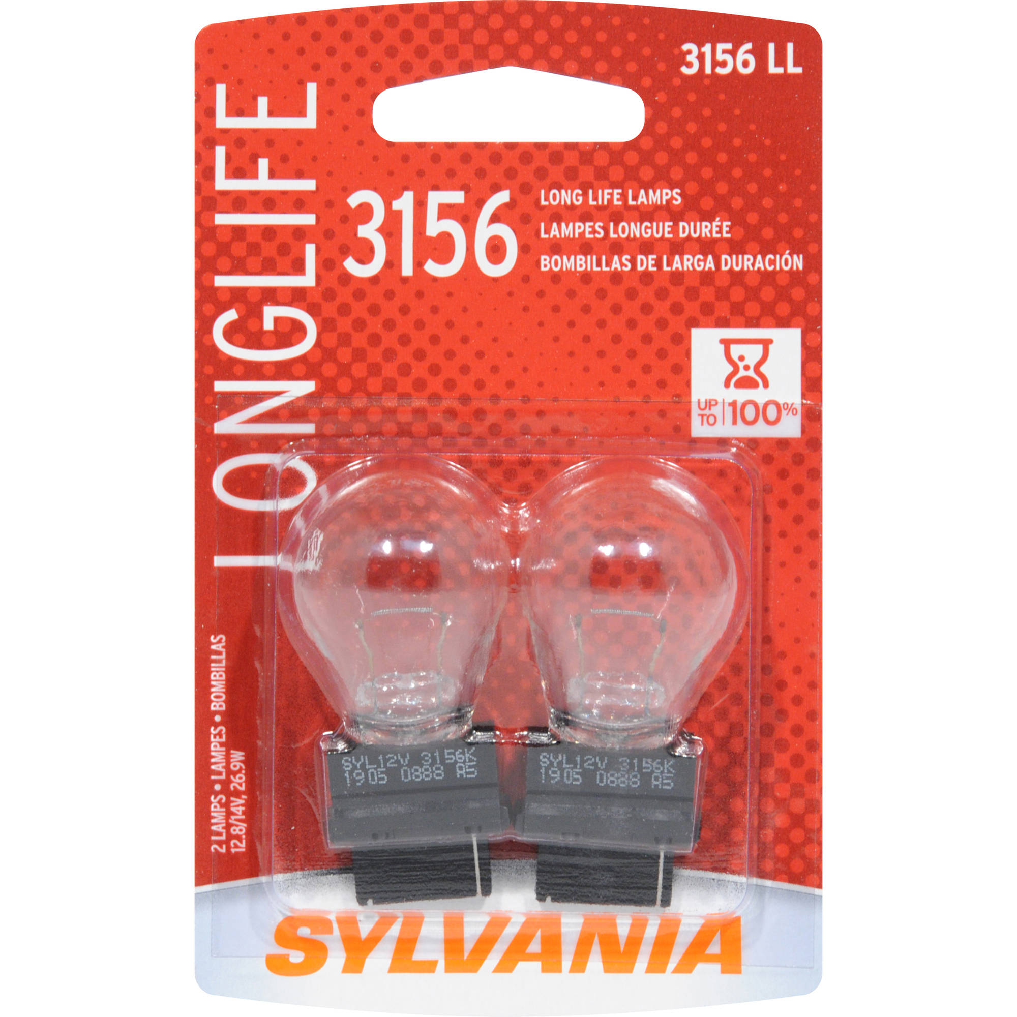 Sylvania 3156 Long-Life Miniature Bulb, Twin Pack