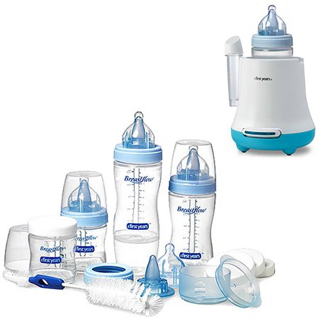 - The First Years Breastflow Bottle Gift Set & Warmer Bundle