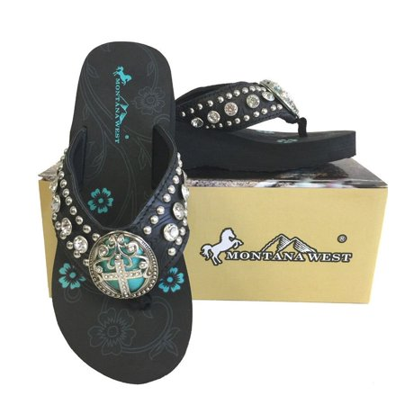 Montana West Women Flip Flops Wedged Sandals Turquoise Stone Pewter Cross Black