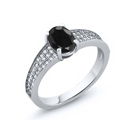 2.14 Ct Oval Black Sapphire 925 Sterling Silver Ring Oval Shaped Sapphire Ring