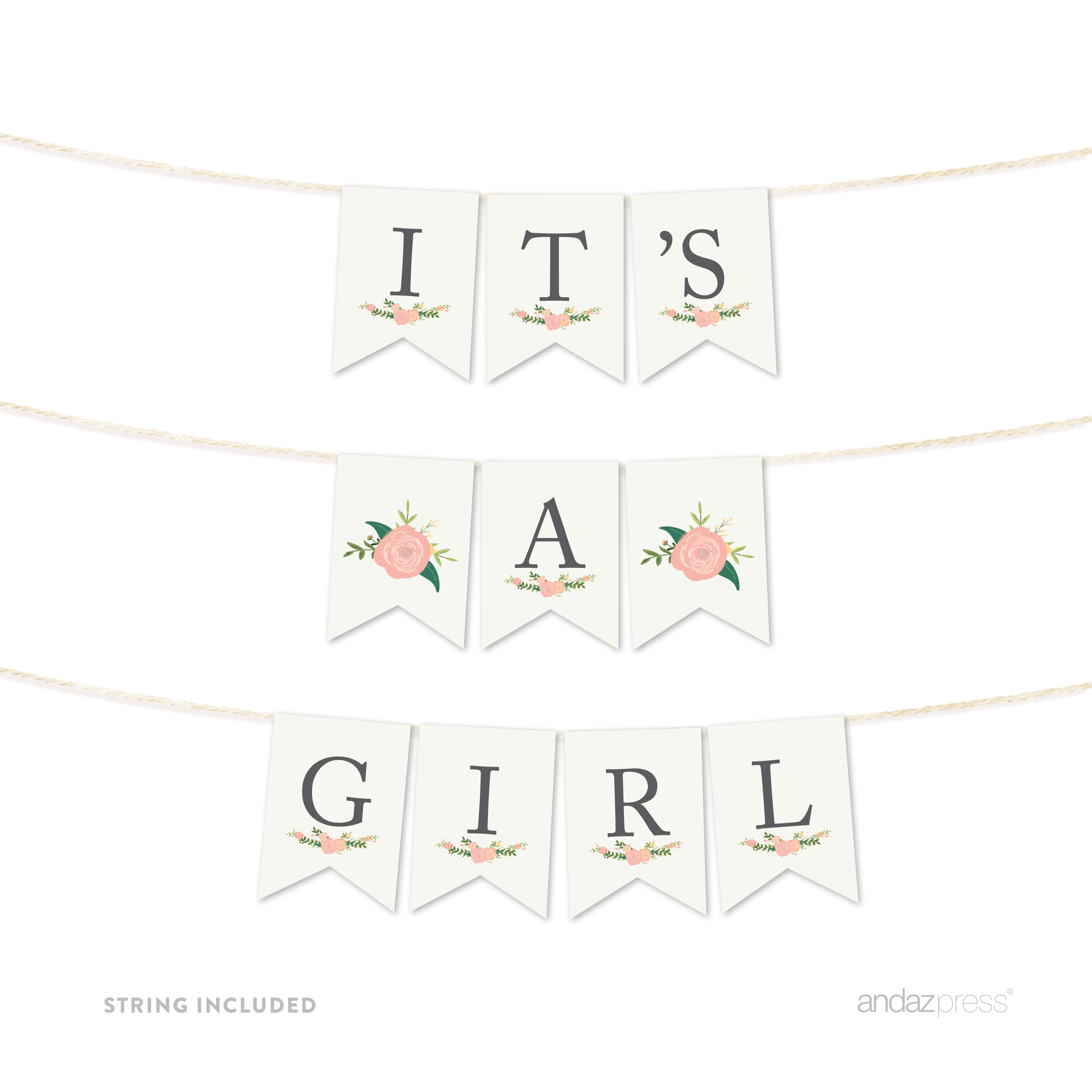 It's A Girl! Floral Roses Girl Baby Shower Pennant Party Banner