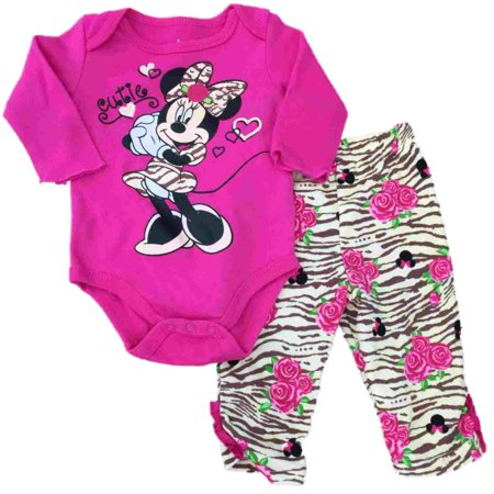 Infant Girls Disney Minnie Mouse Tiger Animal Print Sweater Floral Rose Outfit (Tiger Outfit)