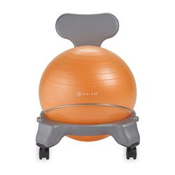 Gaiam Kids Balance Ball Chair, Grey/Orange