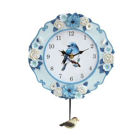 Pendulum Wall Clock with Blue Bird Spring Garden Theme