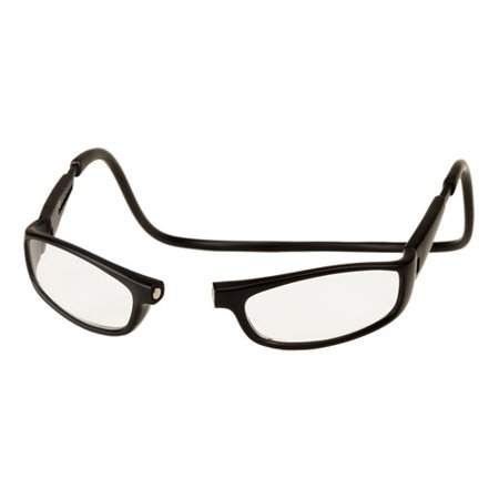 CliC Reader Single Vision Long Frame, Black, + (Clear Frame Readers)
