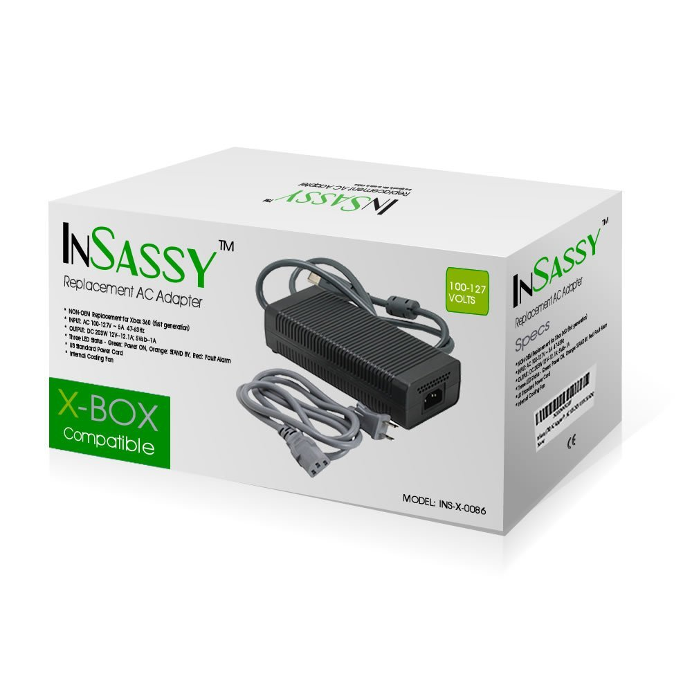 InSassy (TM) Xbox 360 FAT AC Adapter - 203W Brick Style Power Supply with Cable Cord