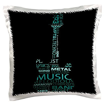 3dRose The Word Music Shaped Like A Guitar In Turquoise, Pillow Case, 16 by 16-inch ()
