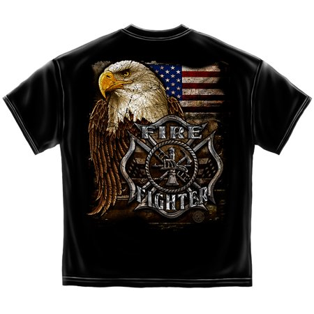 Firefighter T-Shirt EAGLE AND FLAG Firefighter Medium