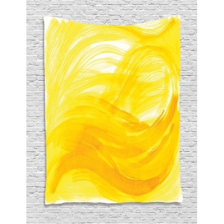 Yellow And White Tapestry  Painting Style Brushstroke Twist Abstract Artistic Monochrome Wave  Wall Hanging For Bedroom Living Room Dorm Decor  40W X 60L Inches  Yellow Marigold  By Ambesonne