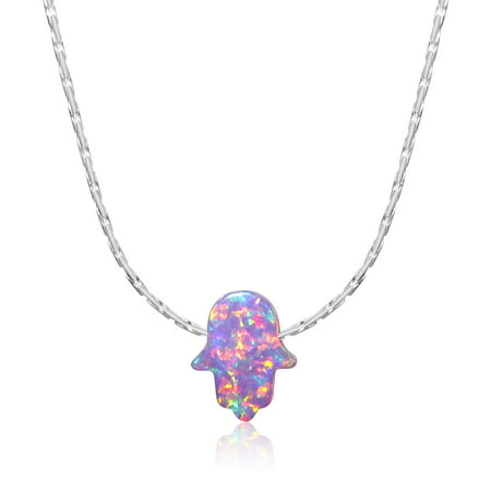 Simulated Purple Opal Hamsa Necklace Hand of Fatima Pendant Charm 925 Sterling Silver 18