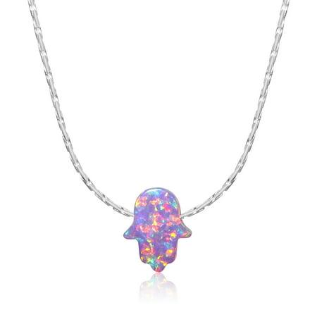 - Simulated Purple Opal Hamsa Necklace Hand of Fatima Pendant Charm 925 Sterling Silver 18