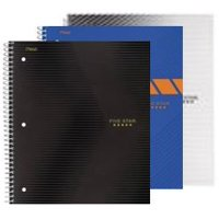 "Five Star Graphics Wirebound Notebook, 1 Subject, College Ruled, 11"" x 8 1/2"", Assorted Designs, 3 Pack (38000)"