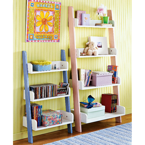 Leaning 3-Tier Bookcase, Multiple Colors
