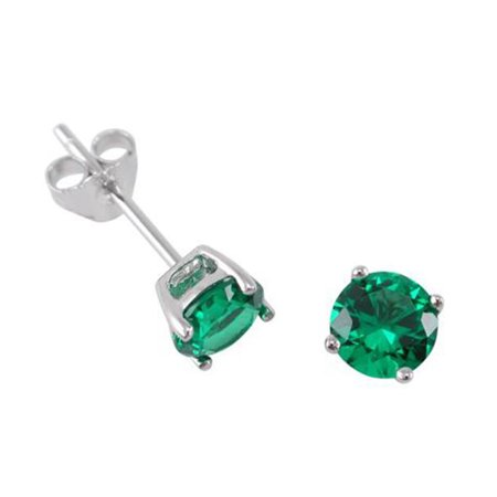 Sterling Silver Emerald Round 1 Ct Cubic Zirconia Stud Earrings