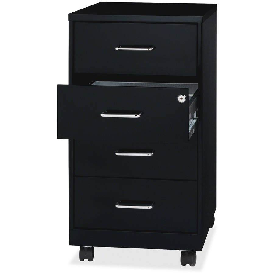 Cabinet With Drawers Lorell 26 1 2 Mobile Storage Cabinet Black Walmartcom