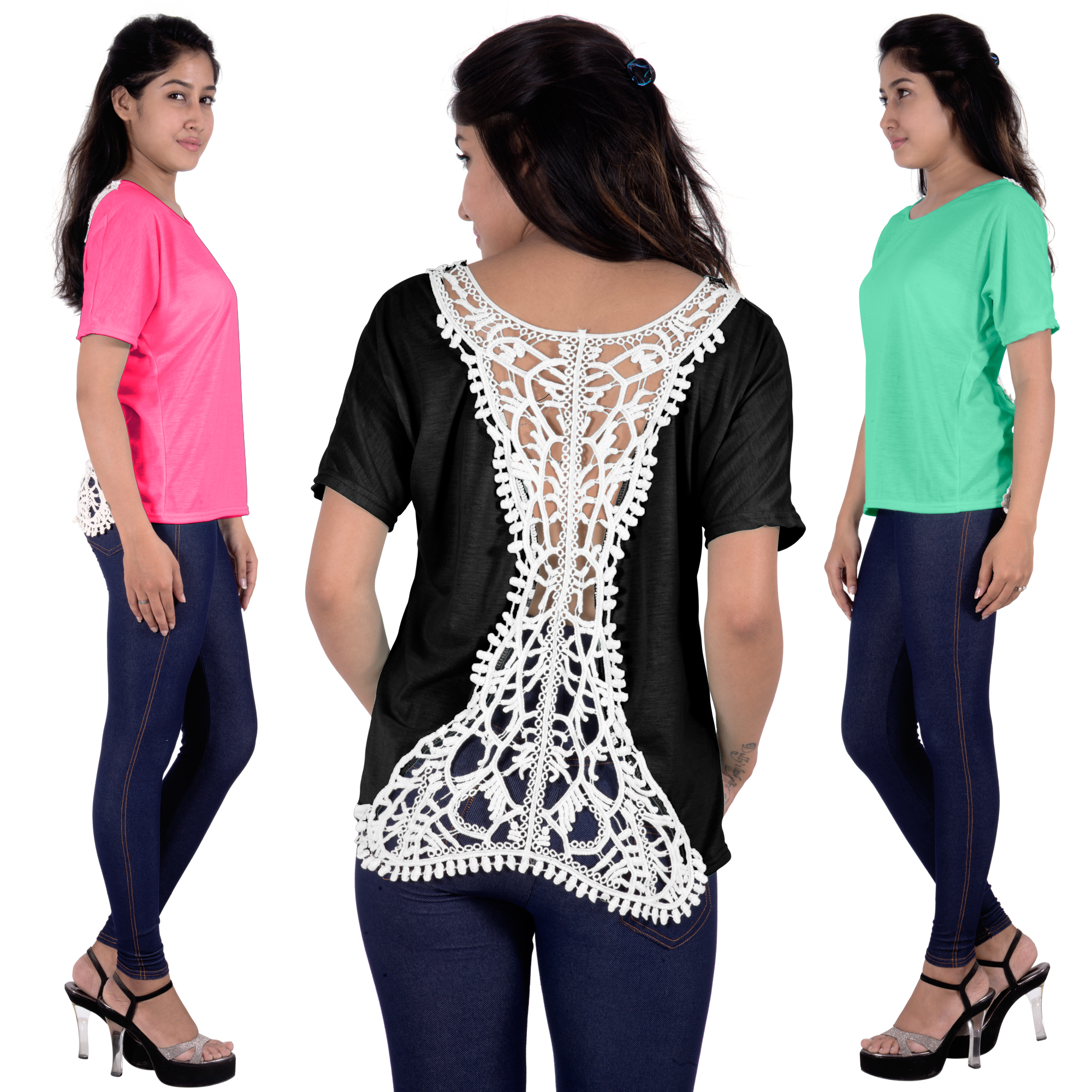 Fashion Womens Summer Vest Tops Short Sleeve Lace Blouse Casual Tops T-Shirt BLACK