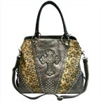Ritz Enterprises CR660-GY Womens Rhinestone Studded  Tote Bag With Laser Cut, Grey