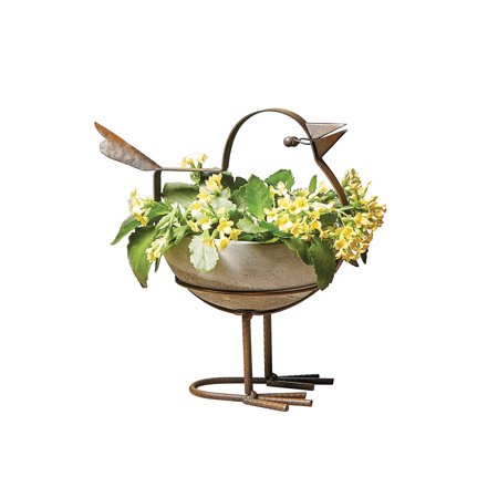 Art & Artifact Indoor Outdoor Bird Planter - Concrete Bowl, Rusted Iron Frame, 6