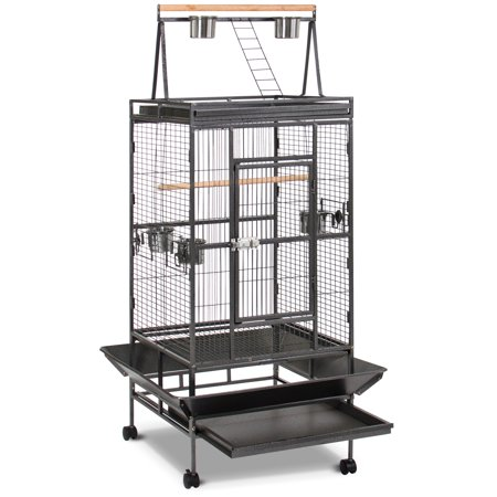 Best Choice Products 68in Durable Bird Cage w/ Long Wooden Perch, Play Area, Feeding Bowls, Doors, and Rolling Wheels -