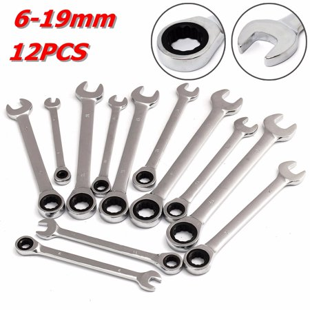 12pcs Steel Silver Metric Spanner Wrench Ratchet Ring Open End Ring Box Kit Set - 0.24-0.75 inches 12 Different Sizes Polished chrome Mechanic Mixed Tool for Car Garage Repair