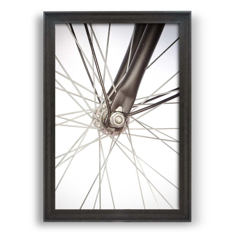 "wall26 - Framed Bicycle Art Prints - Closeup of Bike Spokes - Modern Home Decoration. Ready to Hang - Dark Coffee Brown Frame - 24""x36"""