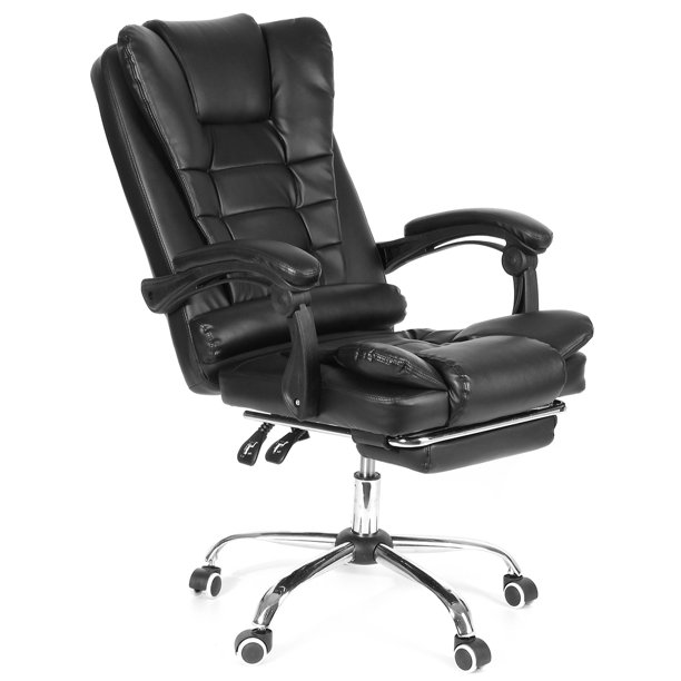 Executive Office Chair with Footrest Soft Leather ...