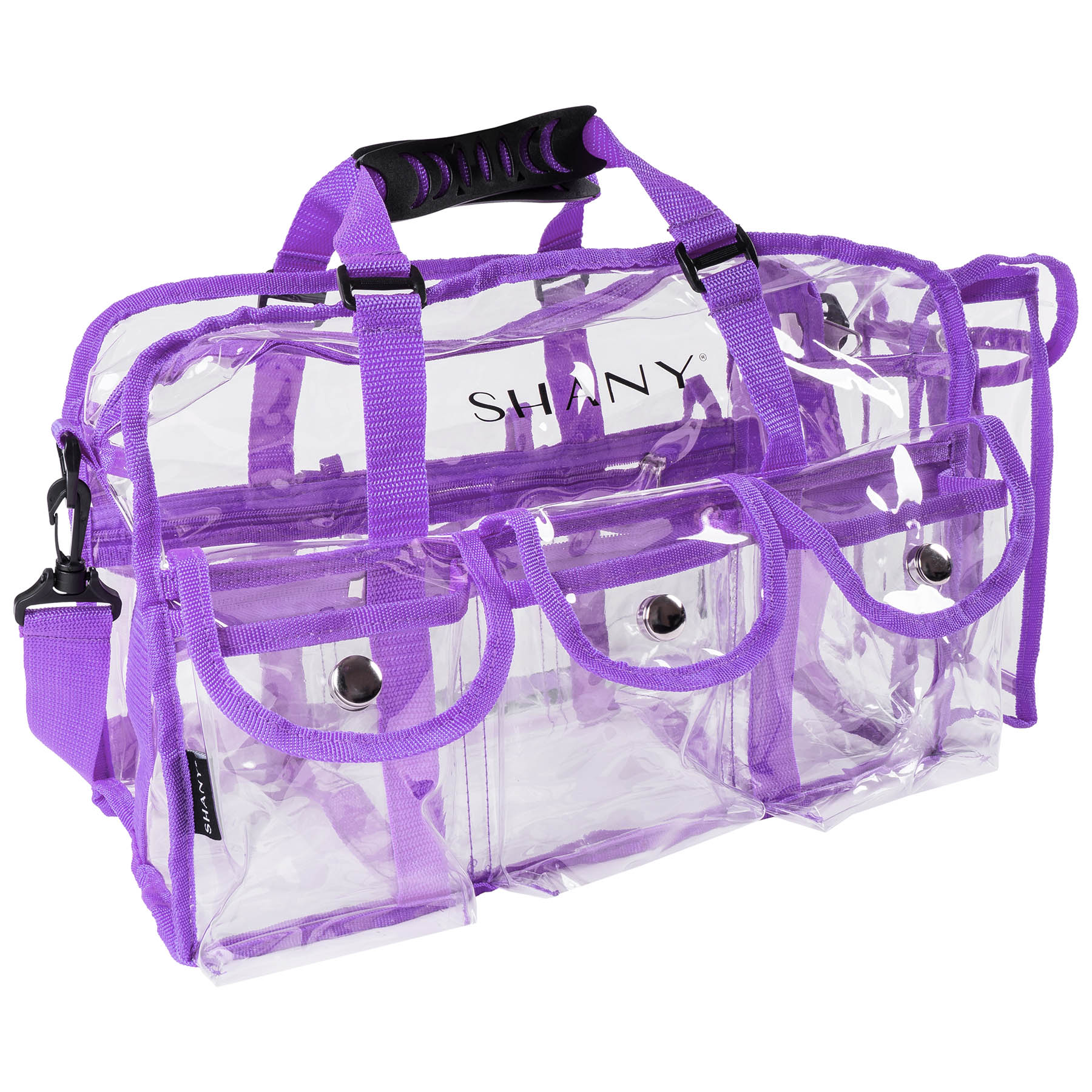 Shany Clear Pvc Makeup Bag Large Professional Artist Rectangular Tote With Shoulder Strap And 5 External Pockets Pink