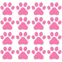 Dog Paw Prints - Vinyl Decals for Walls, (Light Pink, 16 Paws) | Each Paw is 2.5 Inches by 2.3-Inches