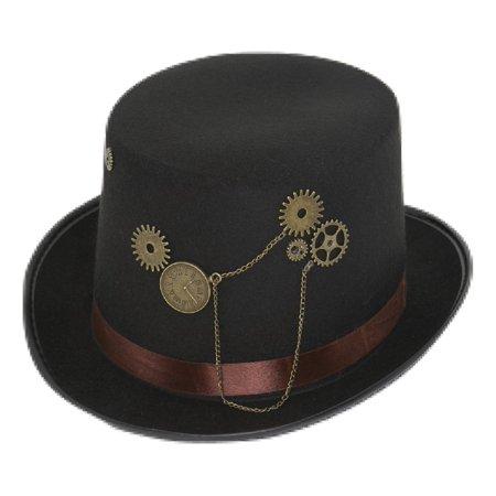 Black Steampunk Victorian Industrial Age Top Hat Costume Accessory Gears Trim