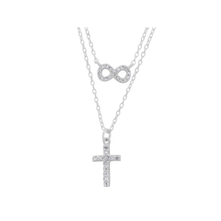 CZ Rhodium over Sterling Silver Double Layered Infinity and Cross Necklace, 18