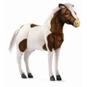 Ride-On Shetland Horse Plush Stuffed Animal in Brown & White
