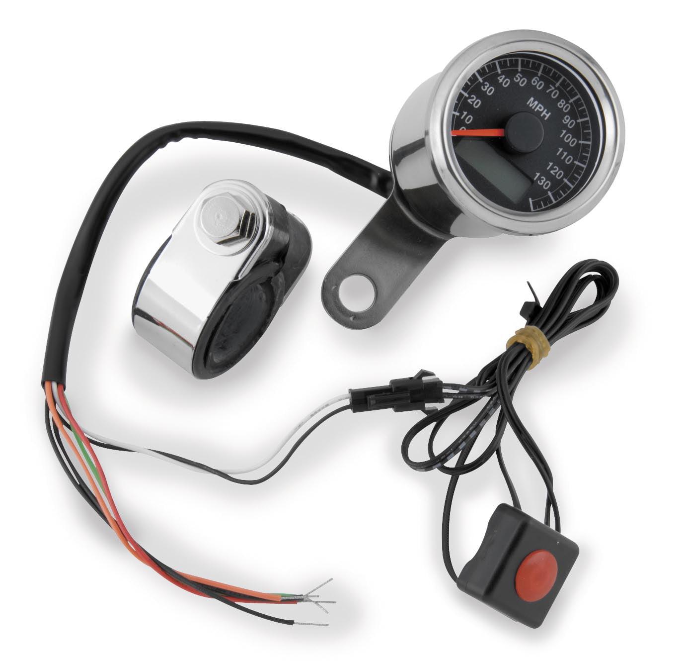 Bikers Choice 169363 LED Mini Speedometer - Black Face