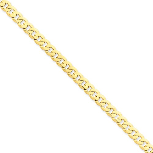 14k Yellow Gold 8in 6.1mm Flat Beveled Curb Chain Bracelet by Jewelrypot