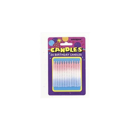 Unique Industries 1932 24 count Spiral Tri-Color Candles Pack of 12