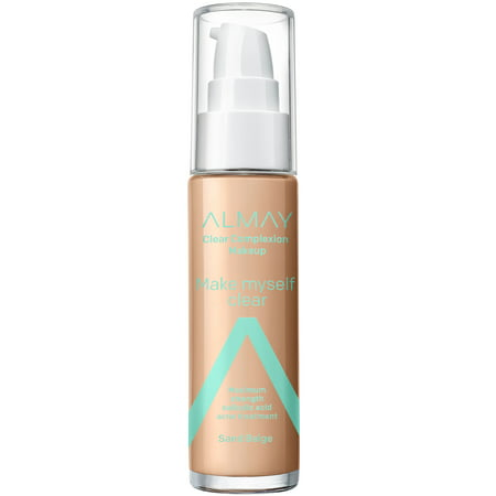 Almay Clear Complexion Makeup, Hypoallergenic, Cruelty Free, Fragrance Free, Dermatologist Tested Foundation, with Salicylic Acid, 1.0 oz - 600 Sand Beige