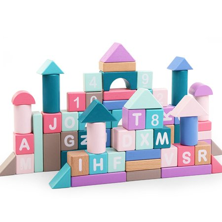 Wooden Building Blocks 87 pcs Colored Construction Building Toys Learning Educational Toys for Kids Boys Girls 3,4,5,6 Years